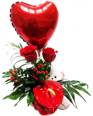 Rosas y anthuriums
